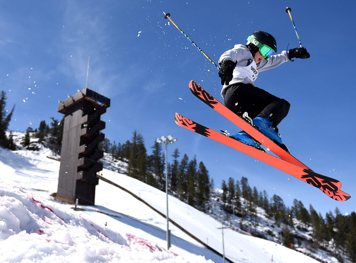 Team Summit skier Camden Burke reaches for a grab at Howelsen Hill.