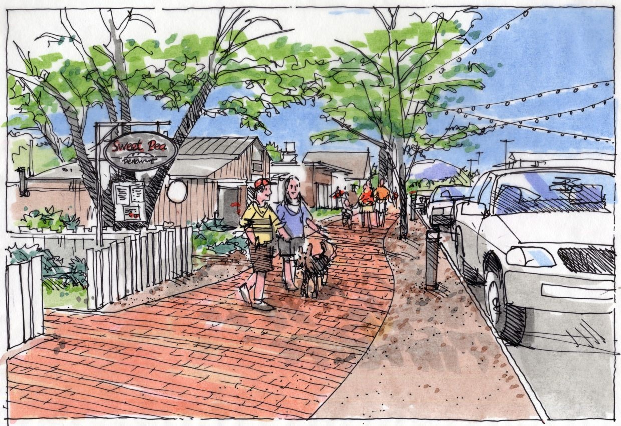 A sketch shows what Yampa Street could look like with a promenade. Visions for additional sidewalks and infrastructure on Yampa date back at least three decades.