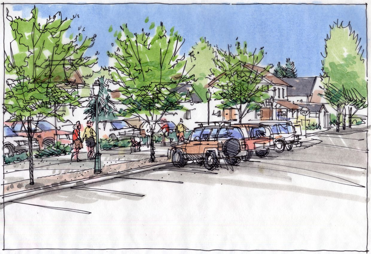 A sketch shows an improved streetscape in front of the Tread of Pioneers Museum. The Steamboat Springs City Council gave initial approval to a list of downtown projects worth $10.3 million.