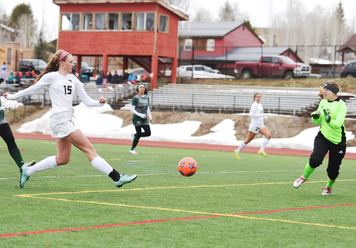 Steamboat Springs freshman Delaney Moon launches a shot past the Summit goalie on Tuesday en route to a 5-0 win.