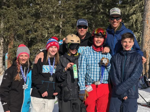 Skiers from the Steamboat Springs Winter Sports Club U15 moguls skiing team pose after a strong weekend of results. From left are Carina Cramer, Maisie Wagner, Xander Tater-Brown, coach Rick Hodges, River King and coach Dylan Brown.
