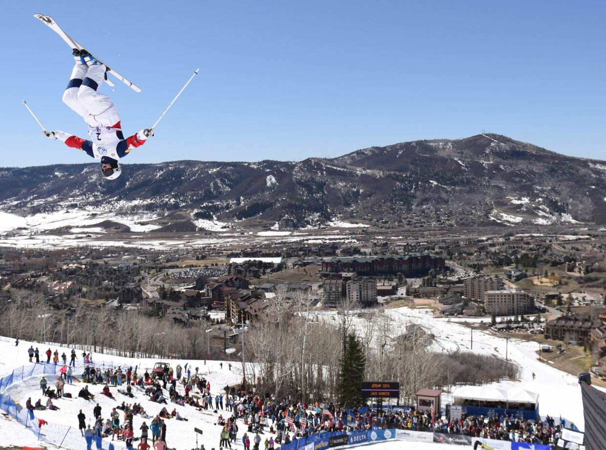 Steamboat Springs skier Jeremy Cota flips above the crowd during last year's U.S. Freestyle National Championships in Steamboat Springs. The event is back this year, and Cota is among the athletes hoping for a big finish to his season. Competition begins at noon Thursday at Steamboat Ski Area.