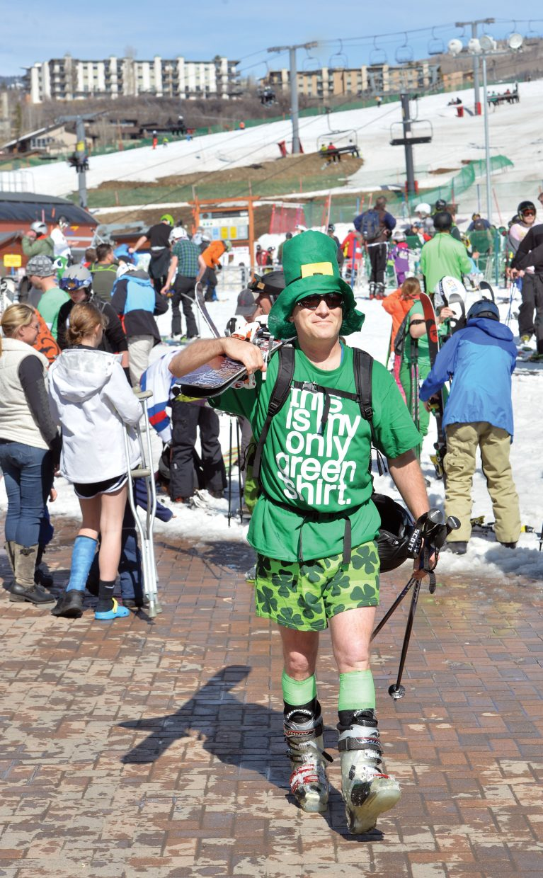 Sam Shelanski was dressed for the St. Patrick's Day Holiday Tuesday as he made his way toward the gondola at the base of the mountain. Shelanski was not alone as many skiers elected to wear green on this special day.