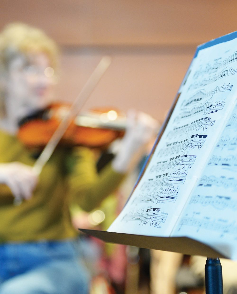 The Steamboat Springs Symphony Orchestra practices at the Strings Music Pavillon.