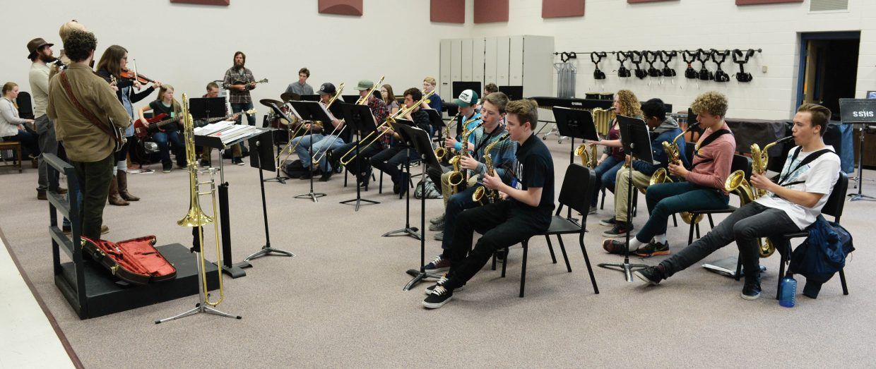 The Steamboat Springs High School jazz band rehearses with Trout Steak Revival earlier this week.