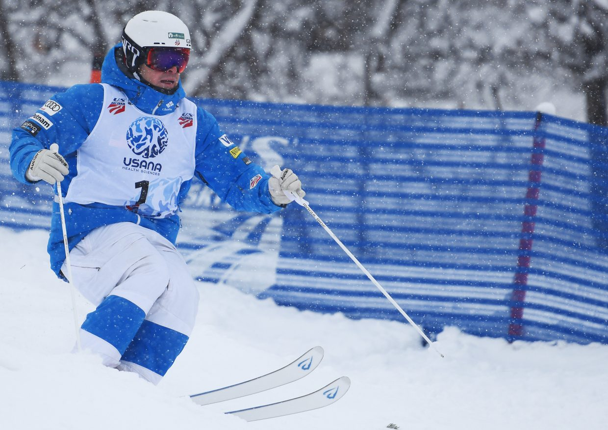 Bradley Wilson races down Voo Doo run at Steamboat Ski Area on Thursday during the U.S. Freestyle National Championships.