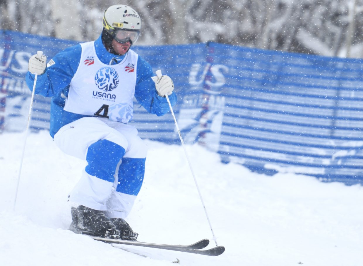 Steamboat skier Jeremy Cota races down Voo Doo run at Steamboat Ski Area on Thursday during the U.S. Freestyle National Championships.