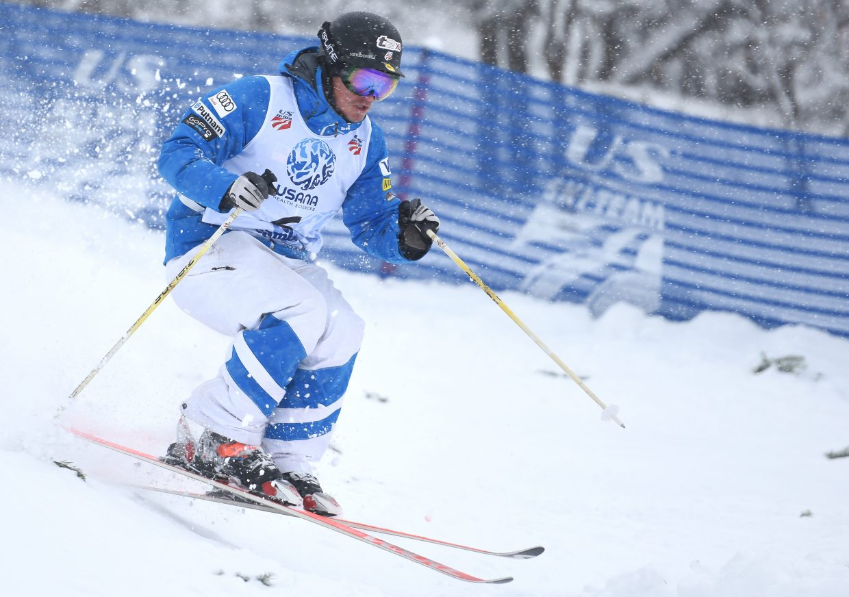 Joe Discoe flies down Voo Doo run on Thursday at Steamboat Ski Area. He was third after the qualification round during the men's moguls U.S. Freestyle National Championships competition.