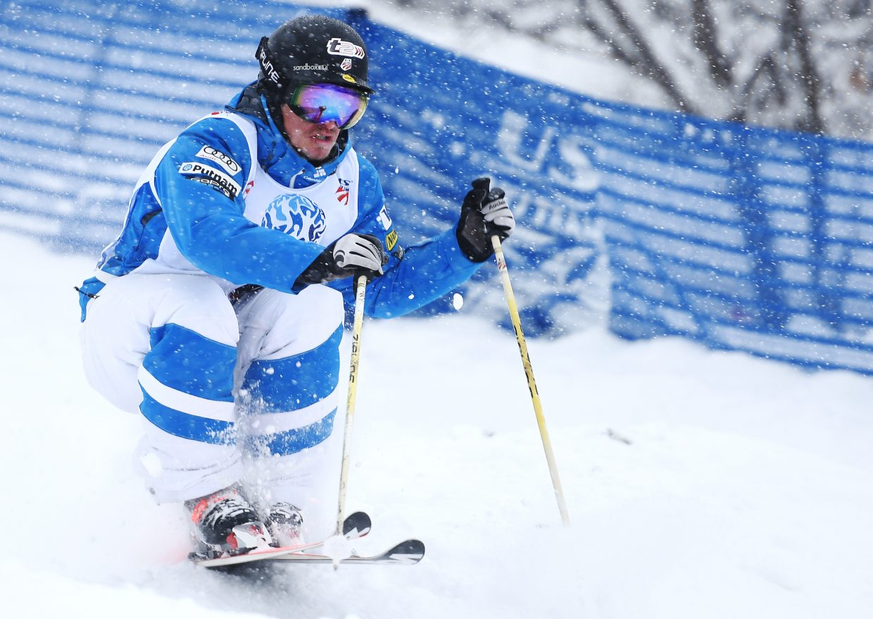 Joe Discoe races down Voo Doo run at Steamboat Ski Area on Thursday during the U.S. Freestyle National Championships.