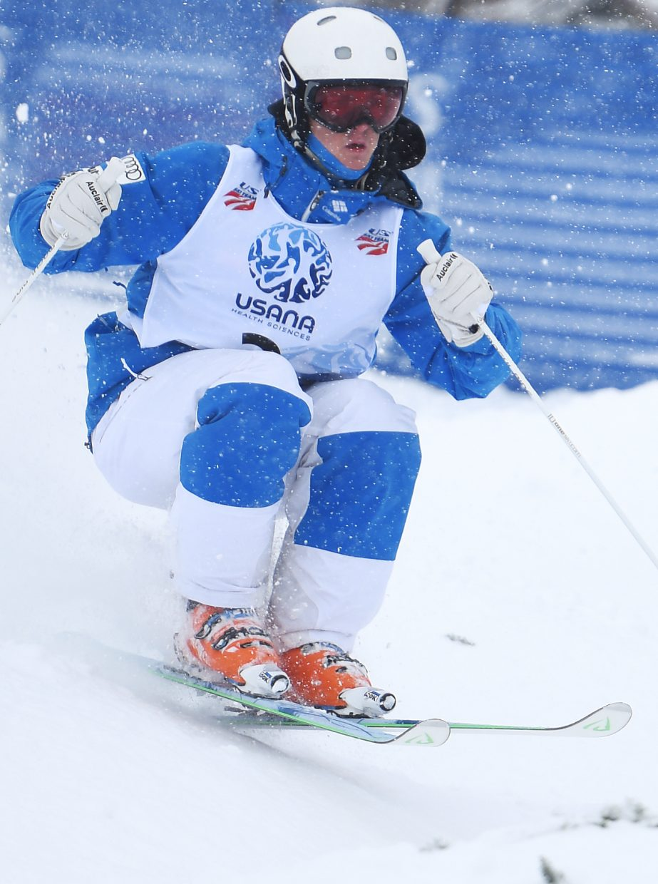Thomas Rowley skis over a mogul at Steamboat Ski Area on Thursday during the U.S. Freestyle National Championships.