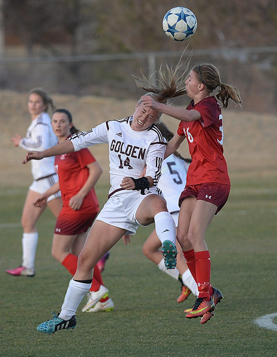 Steamboat Springs Sophie Leeson battles for a ball during Friday night's game against Golden. Golden jumped out to a 5-1 lead at the half.