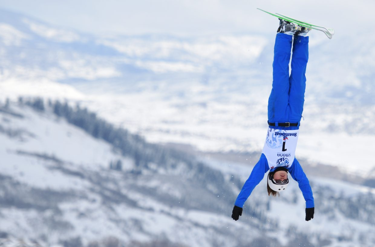 Ashley Caldwell practices ahead of Saturday's aerials event at the U.S. Freestyle Championships in Steamboat Springs.