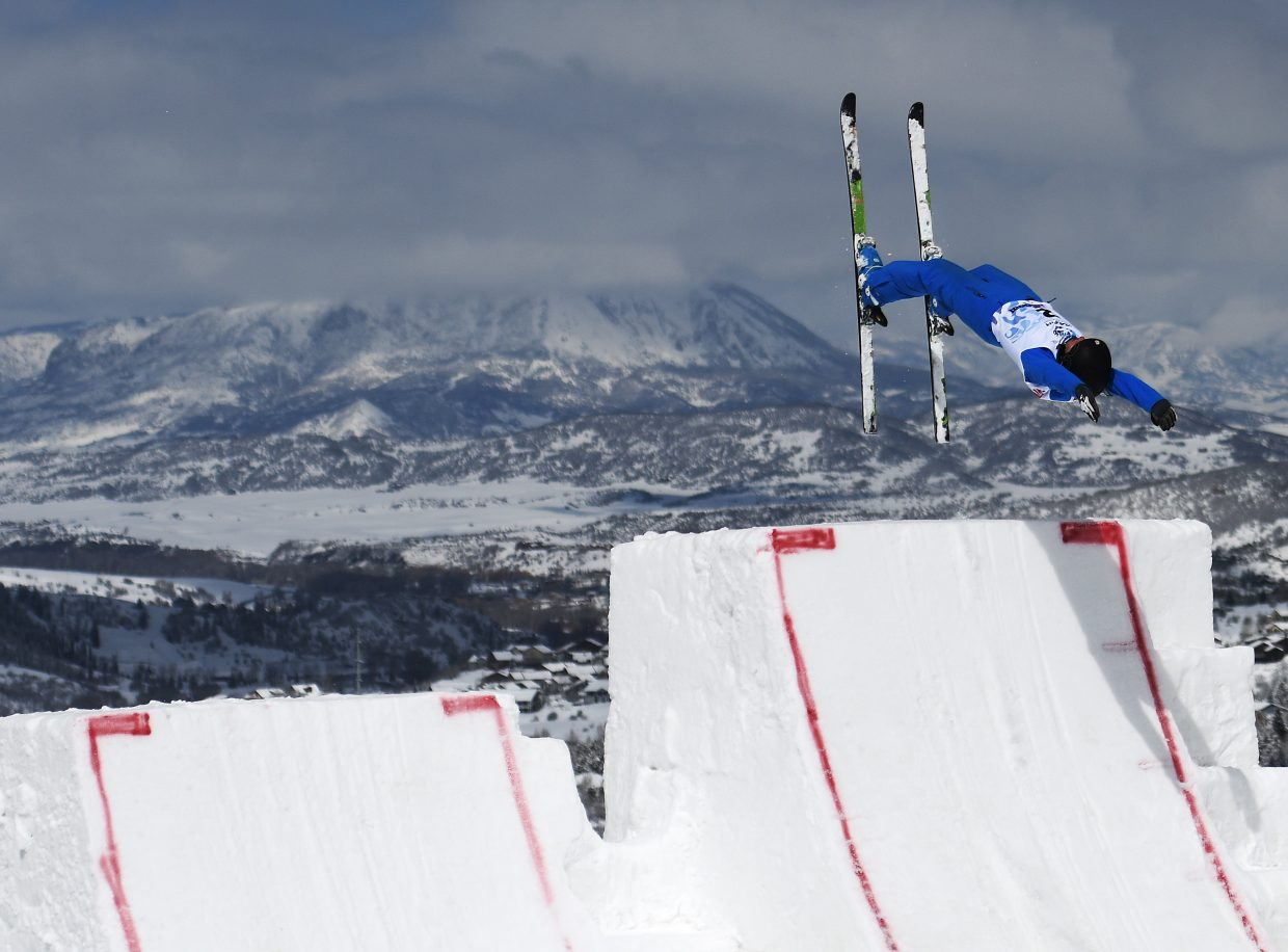 Christopher Lillis launches from the aerials jumps during practice at the U.S. Freestyle Championships in Steamboat Springs.