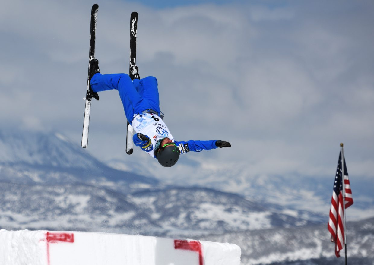 Jonathon Lillis launches off a jump during aerials practice at the U.S. Freestyle Championships in Steamboat Springs.