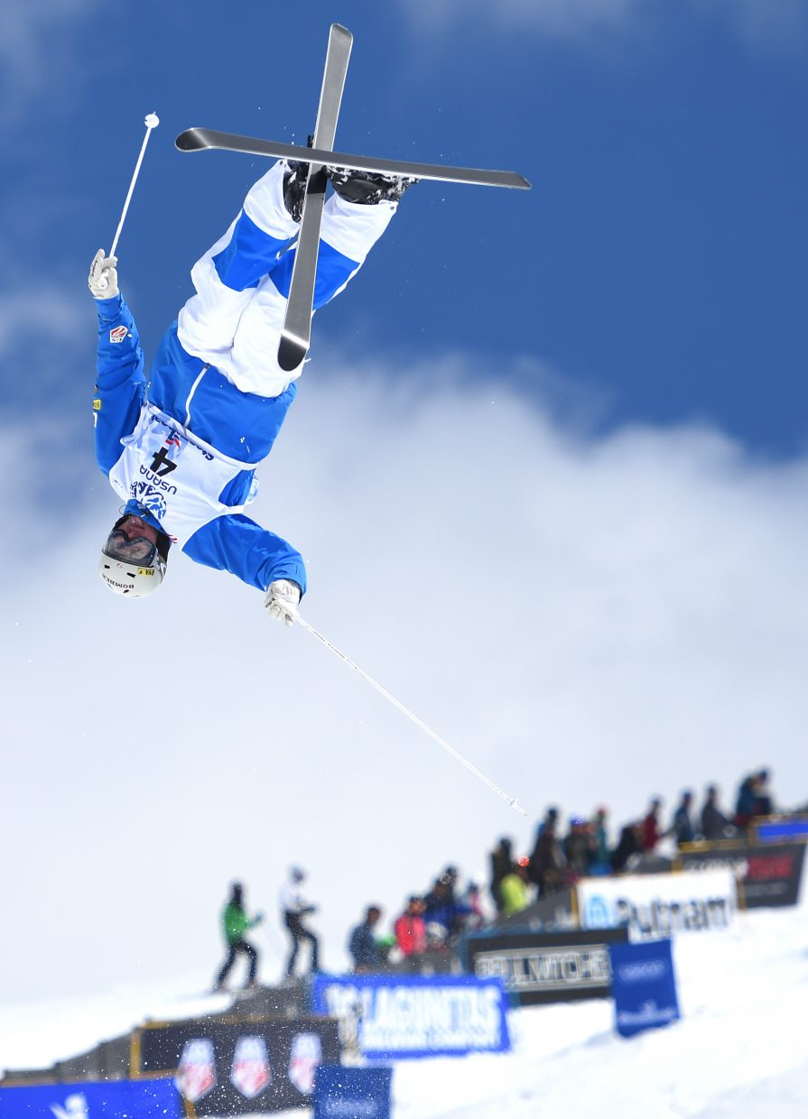 Steamboat's Jeremy Cota floats above the crowd Friday during the U.S. Freestyle National Championships in Steamboat Springs. He finished fourth in the men's moguls.