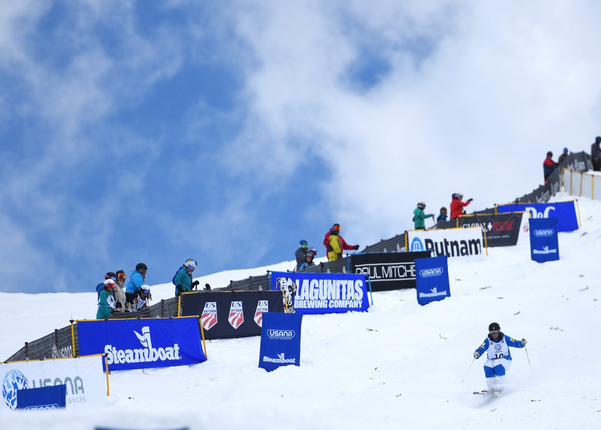 Steamboat Springs skier Lane Stoltzner skis down Voo Doo run on Friday during the women's mogul national championships.