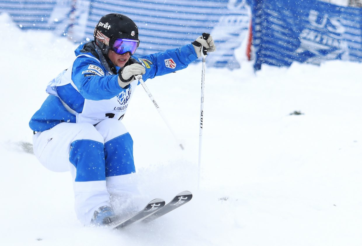Steamboat skier Lane Stoltzner skis down Voo Doo run during the U.S. Freestyle Skiing Championships in Steamboat Springs.