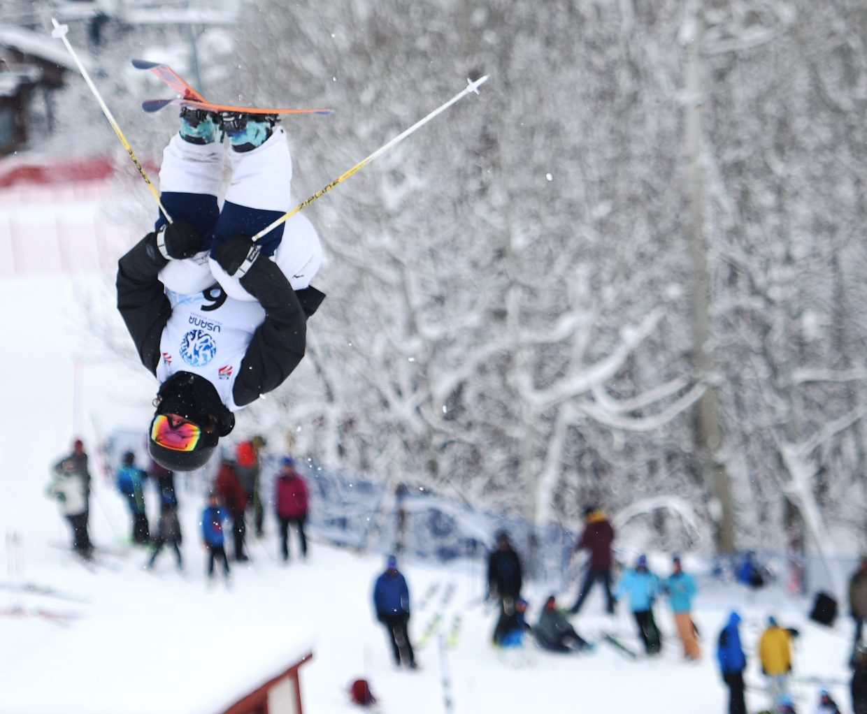 Steamboat's Avital Shimko flips over Voo Doo run during the U.S. Freestyle Skiing Championships in Steamboat Springs.