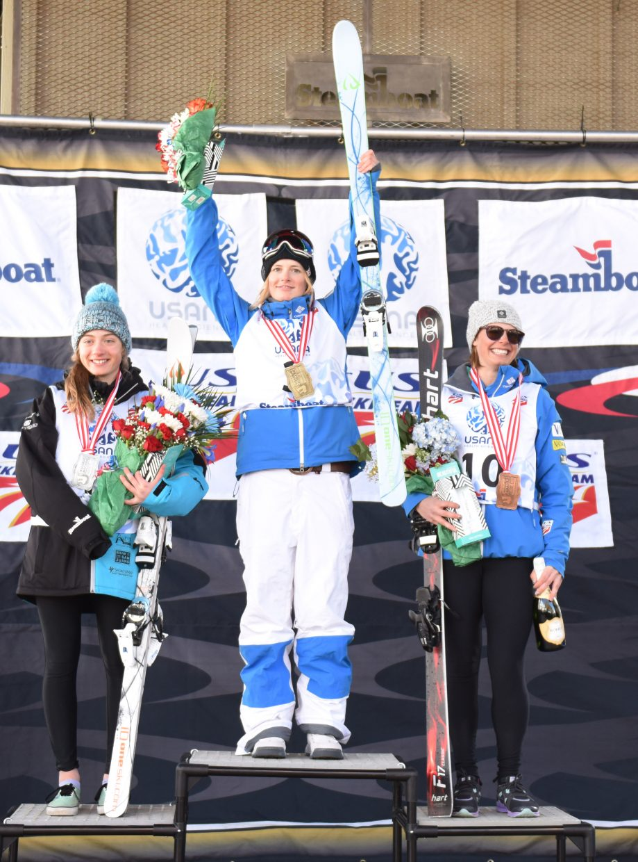 Keaton McCargo stands atop the women's moguls podium at the U.S. Freestyle National Championships in Steamboat Springs. Olivia Giaccio was second and Lane Stoltzner third.