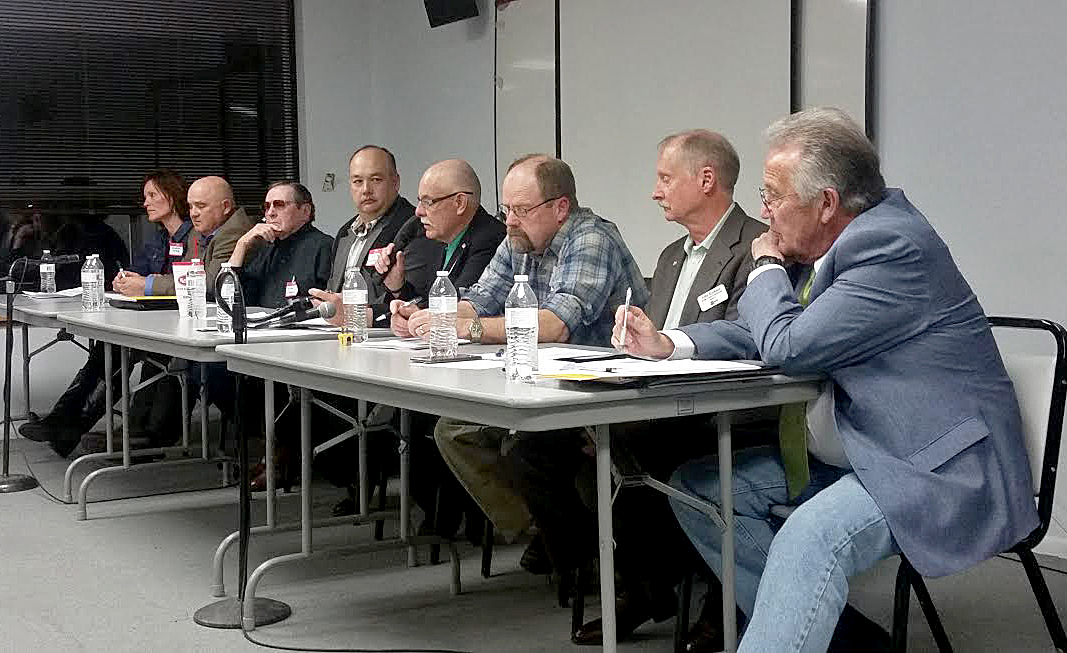 Andrea Camp, Don Cook, Lane Osborn, Ed Winters, Mayor Ray Beck, Jim Stoddard, Commissioner John Kinkaid and Tony St. John answer questions as candidates for the Moffat County Board of Commissioners.