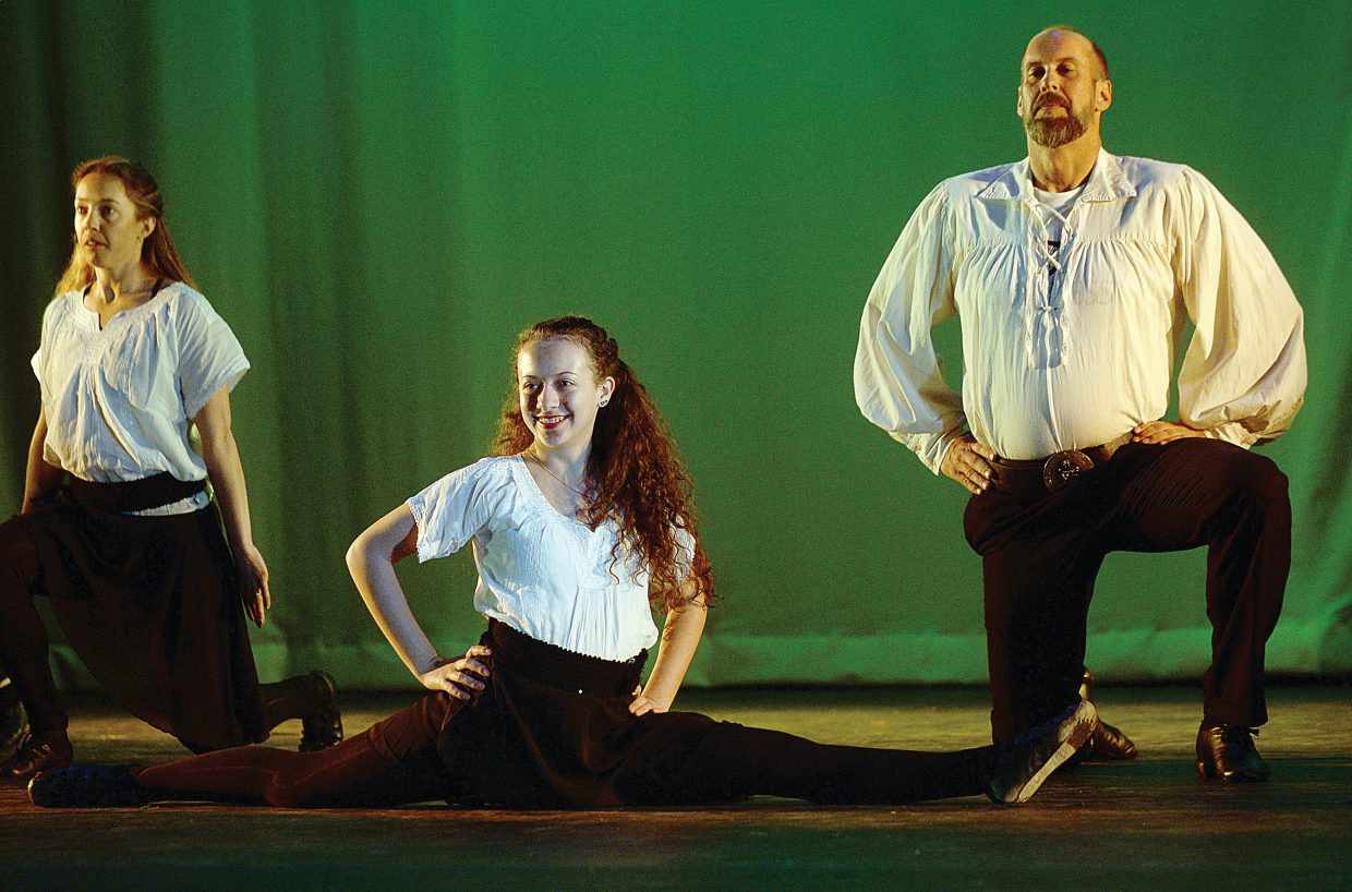 Irish dancers Jenna Kramer, middle, Nicole LeCuyer, left, and Chad McGowen perform at a rehearsal forSteamboat Dance Theatre. Shows are slated for 7 p.m. Thursday, Friday and Saturday. There also will be a matinee at 12:30 p.m. Saturday.