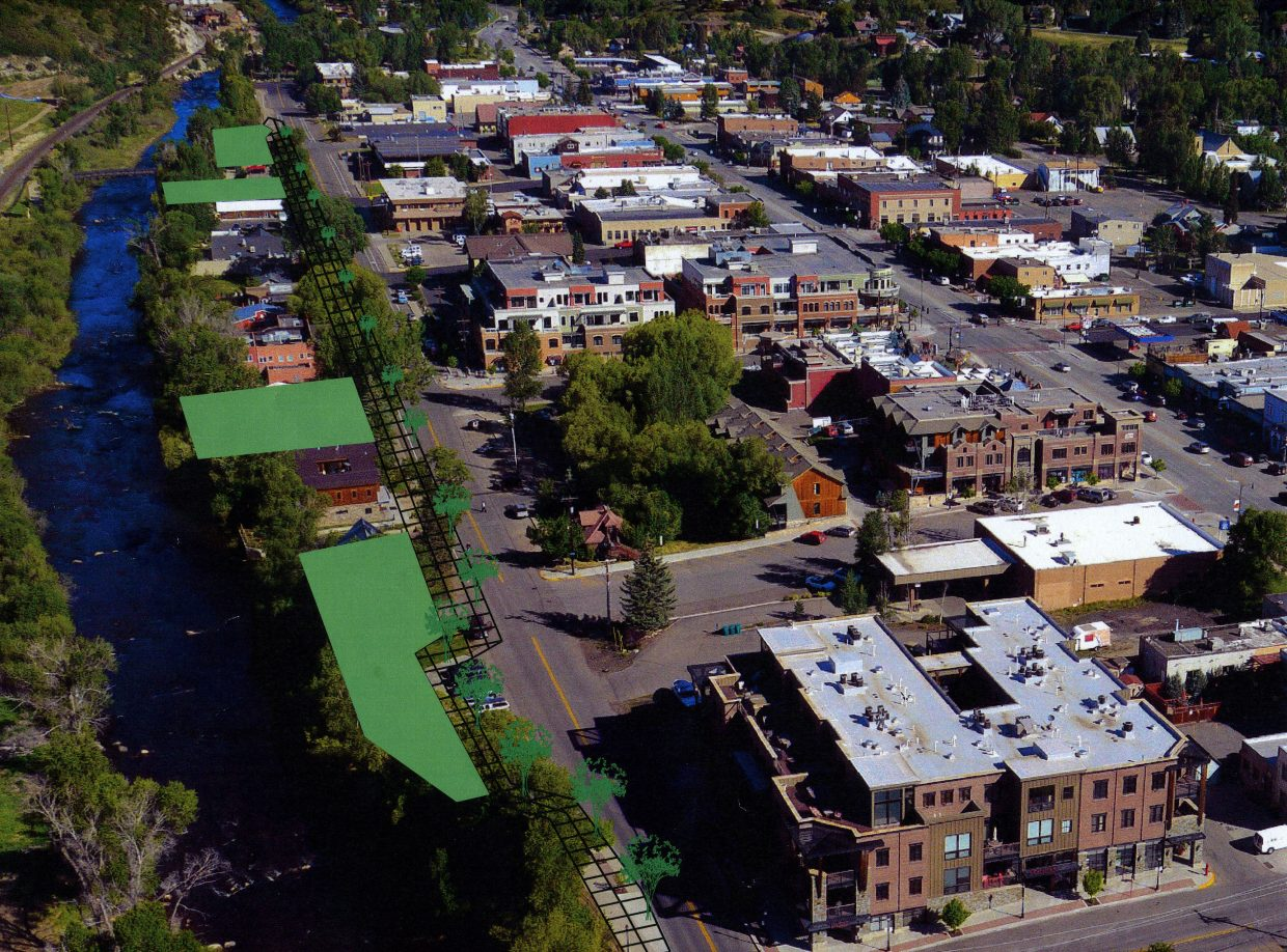 The Yampa Street lodging tax committee decided the lot at Seventh and Yampa streets should be the top priority for lodging tax funding. There are visions to convert the lot, shaded in green second from the bottom, into a pocket park.