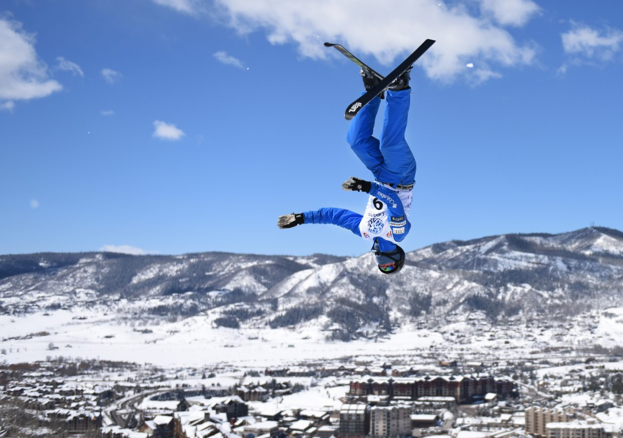 Nik Seeman flies through a trick Saturday during the U.S. Freestyle National Championships aerials event in Steamboat Springs. The Winter Park skier went on to place second.