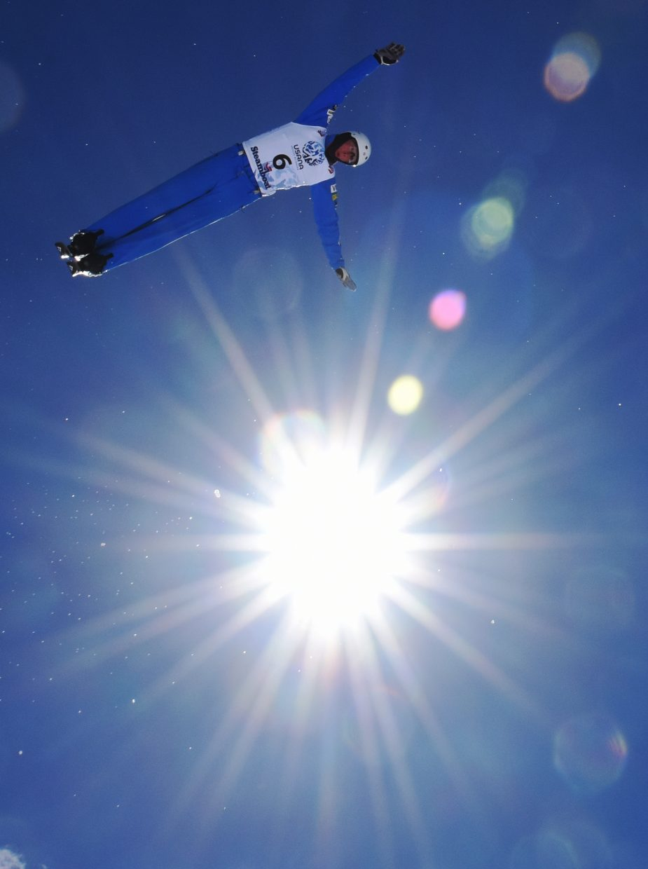 U.S. Ski Team aerialist Harrison Smith soars through the sky Saturday on his way to winning the 2016 aerials national championship in Steamboat Springs.
