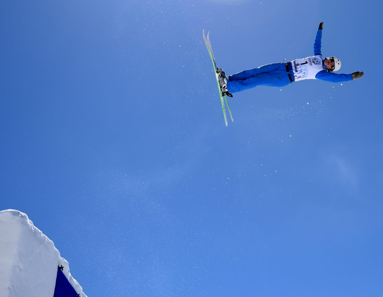 Ashley Caldwell launches from the jump Saturday during the U.S. Freestyle National Championships aerials event in Steamboat Springs.