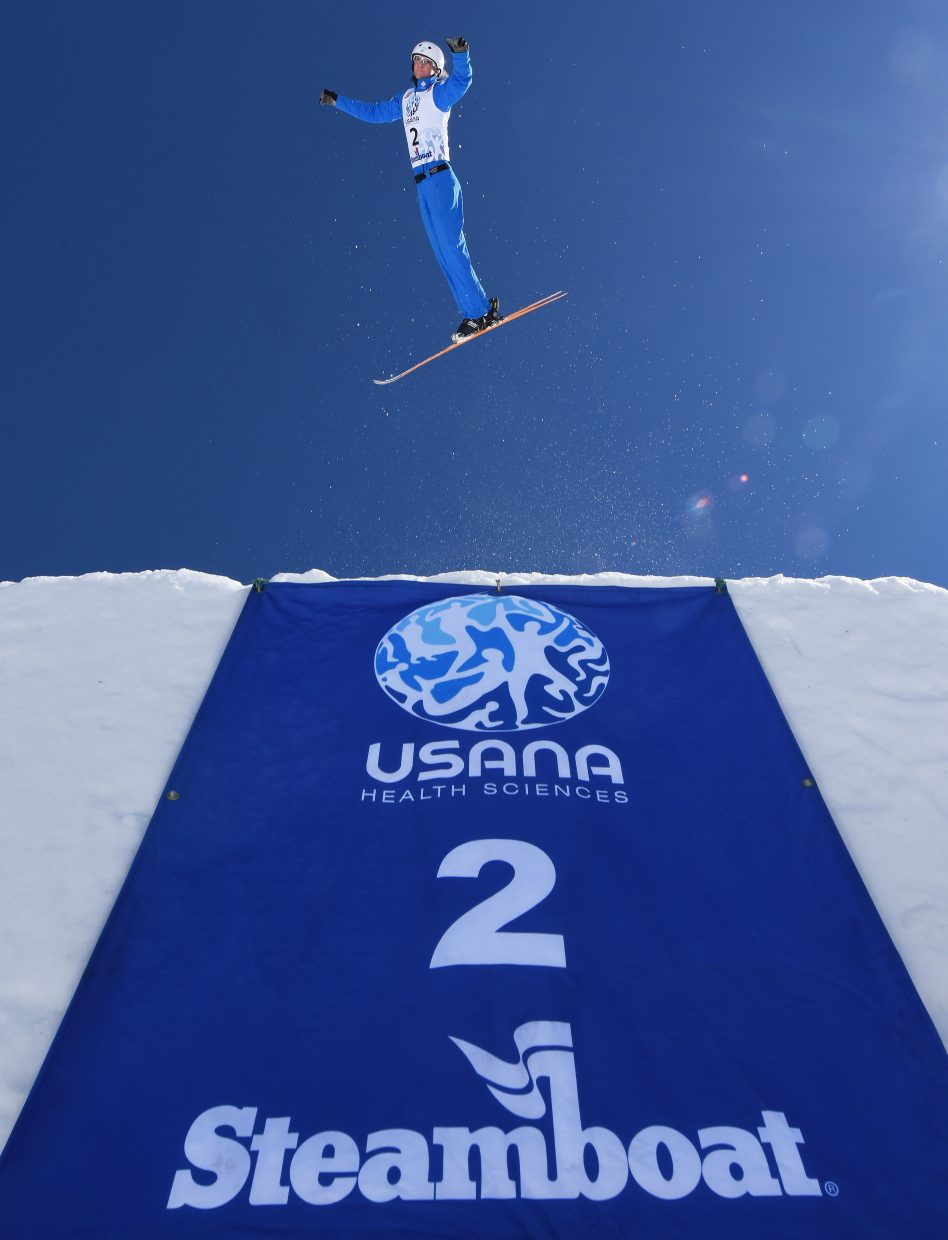 Kiley McKinnon launches from the jump Saturday during the U.S. Freestyle National Championships aerials event in Steamboat Springs. She went on to a second-place finish.