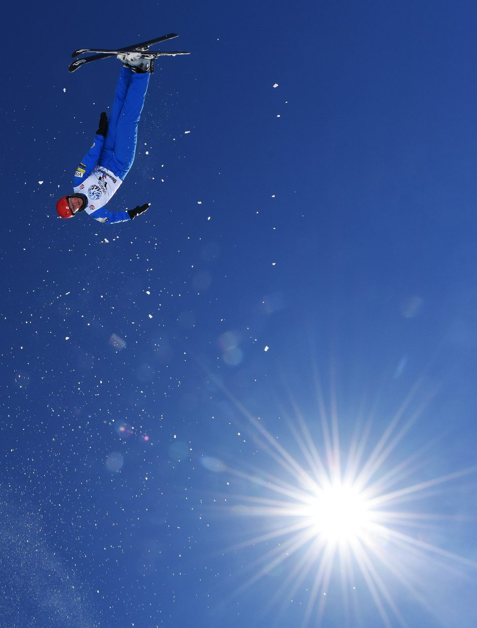 Christopher Lillis flies high Saturday during the U.S. Freestyle National Championships aerials event in Steamboat Springs.