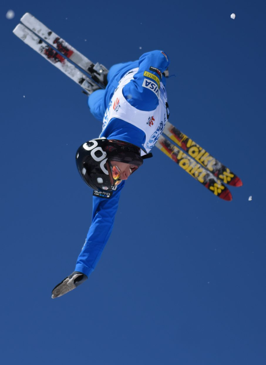 Christopher Lillis flies Saturday during the U.S. Freestyle National Championship aerials event in Steamboat Springs.