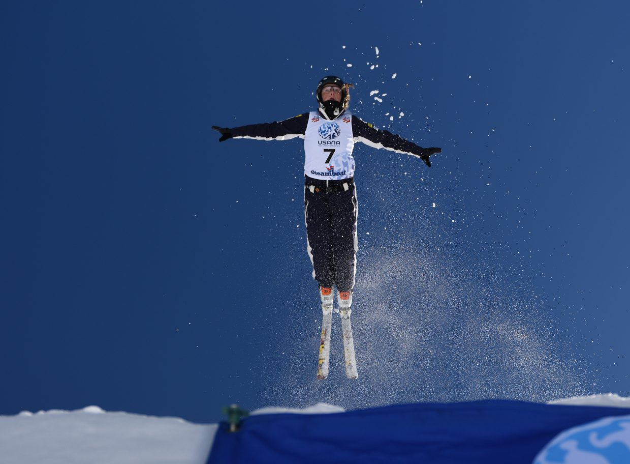 Megan Nick takes flight Saturday during the aerials event at the U.S. Freestyle National Championships in Steamboat Springs.