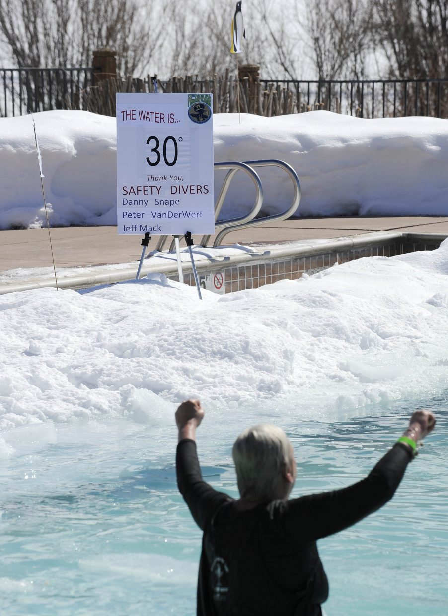 The water reportedly 30 degrees for Saturday's Penguin Plunge.