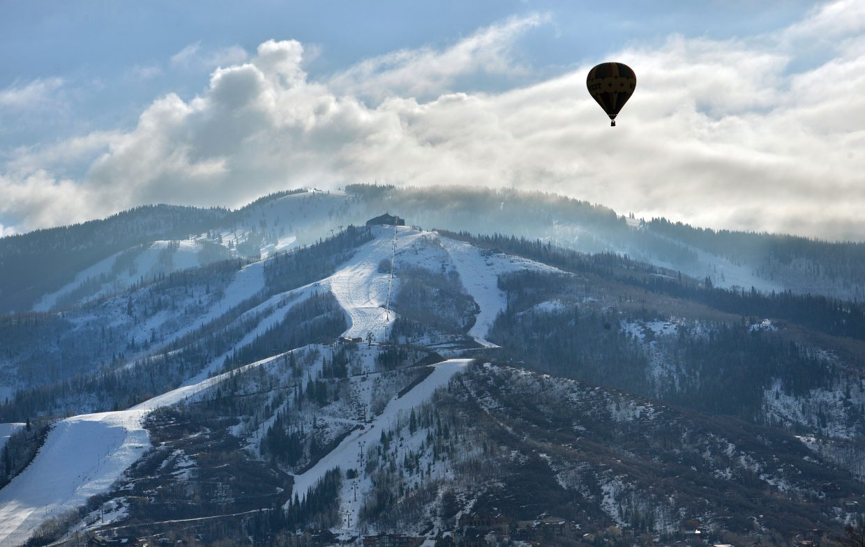 The passengers in this balloon had a bird's eye view Thursday morning as they floated high above the slopes of Steamboat Ski Area.