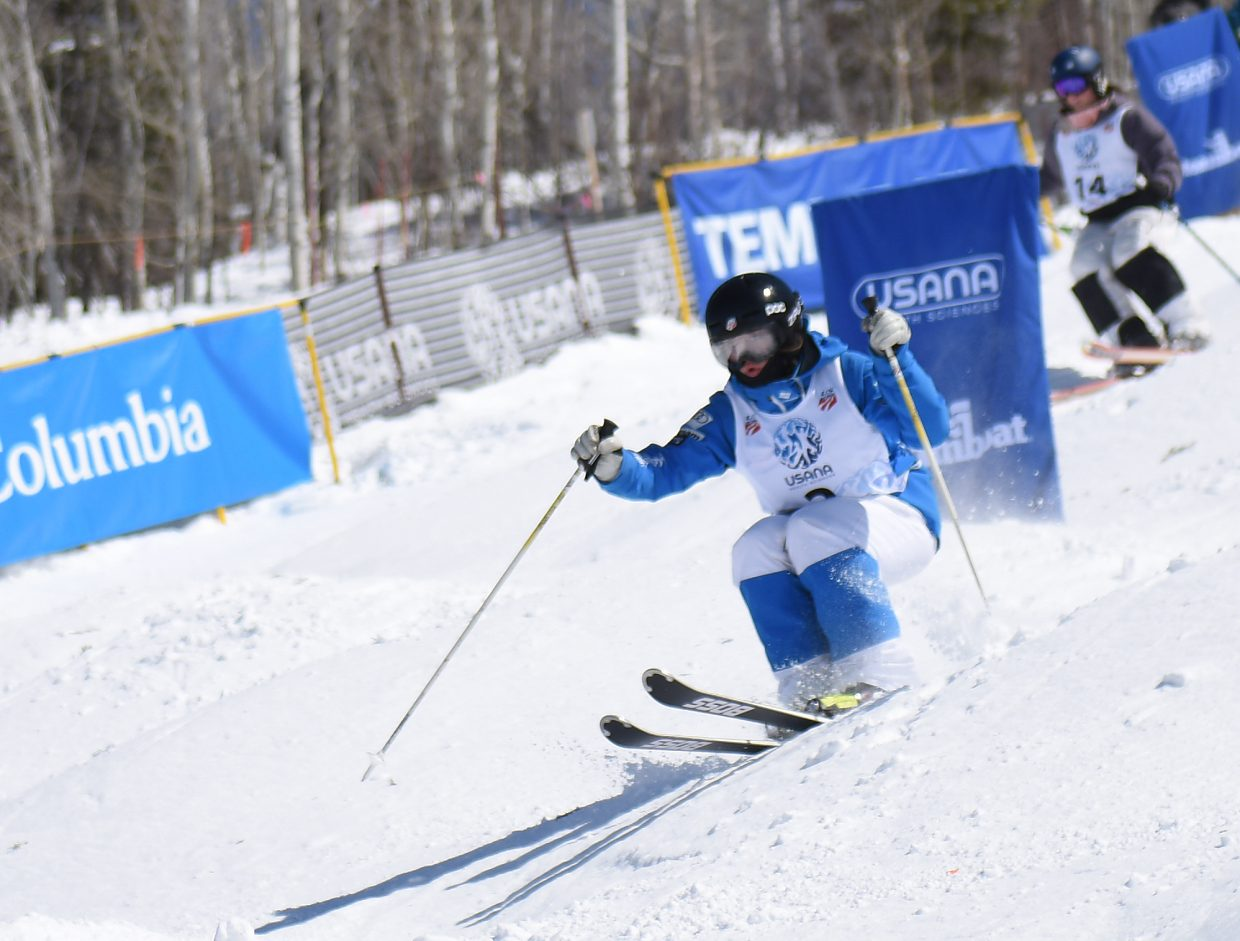 Steamboat Springs skier Jaelin Kauf roars down Voo Doo run on Sunday during the U.S. Freestyle National Championship at Steamboat Ski Area. She went on to finish second.