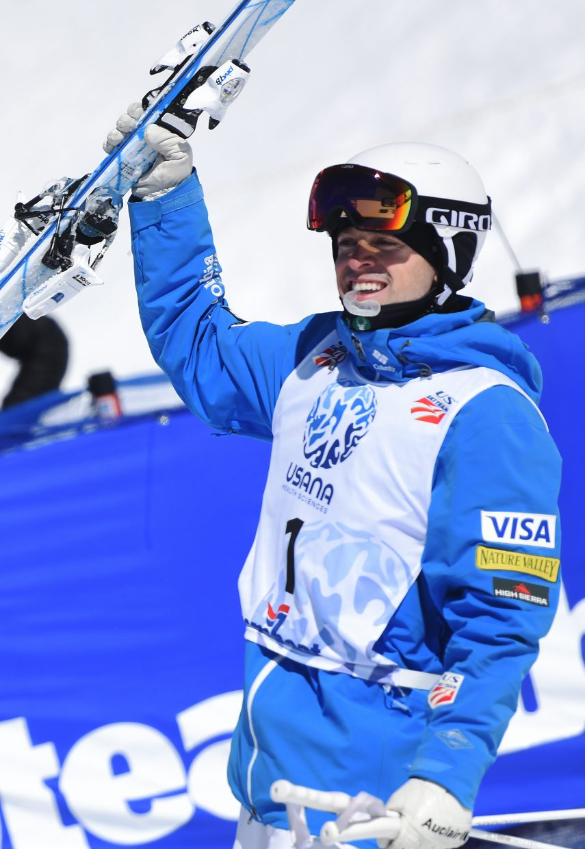 Bradley Wilson celebrates after winning the dual moguls national championship on Sunday in Steamboat Springs.