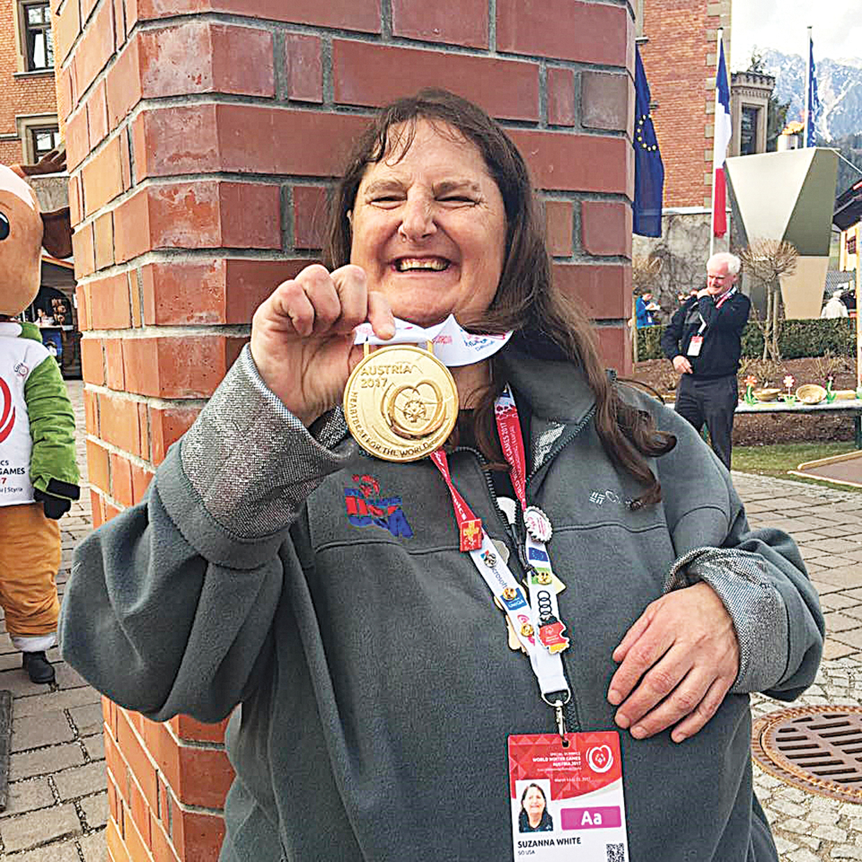 Sue White shows off the golf medal she won at the Special Olympic World Winter Games Tuesday in the giant slalom. The longtime Steamboat Springs resident also placed fourth in her division in the super-G.