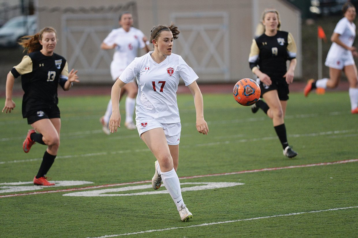 Steamboat Springs soccer player Kelly Petix controls a bouncing ball in the first half of Tuesday's game against Battle Mountain at Gardner Field.