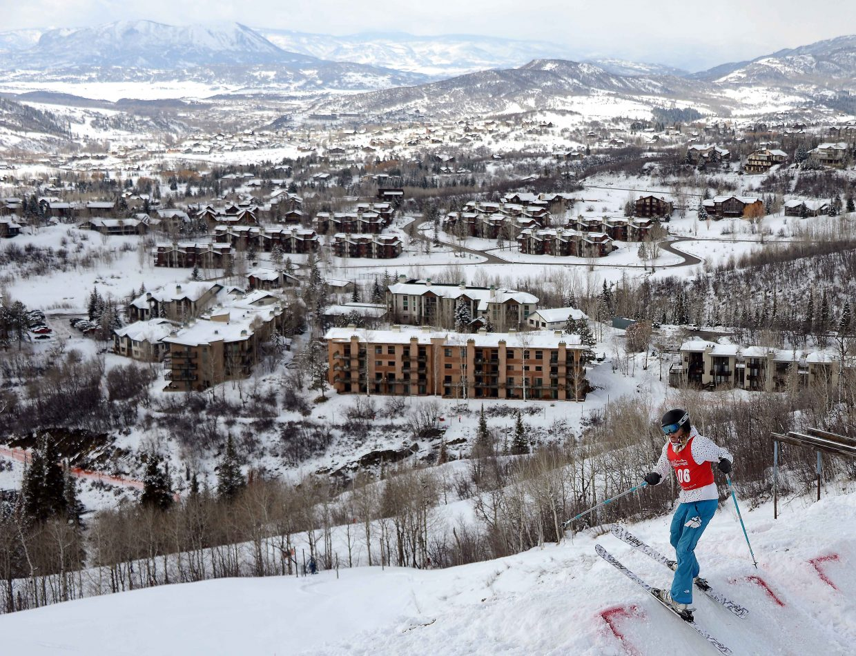 Winter Park's Anna Whittier skis Saturday in a moguls event at Steamboat Ski Area.