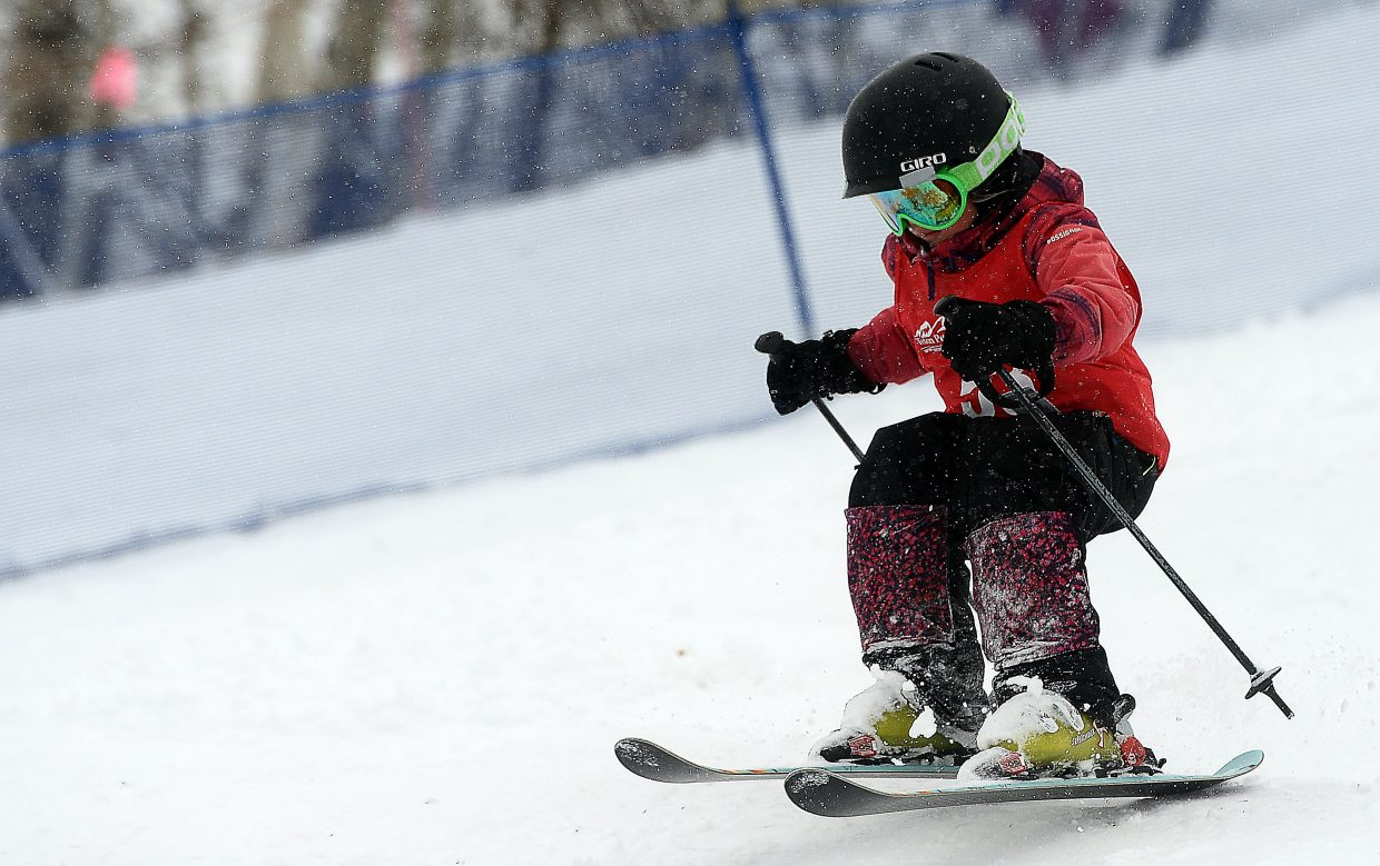 Steamboat's Elizabeth Lemley skis Saturday in a moguls event at Steamboat Ski Area.