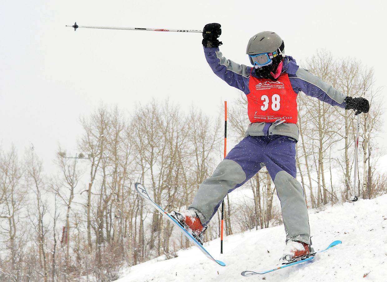 Steamboat's Riley Jacobs skis Saturday in a moguls event at Steamboat Ski Area.