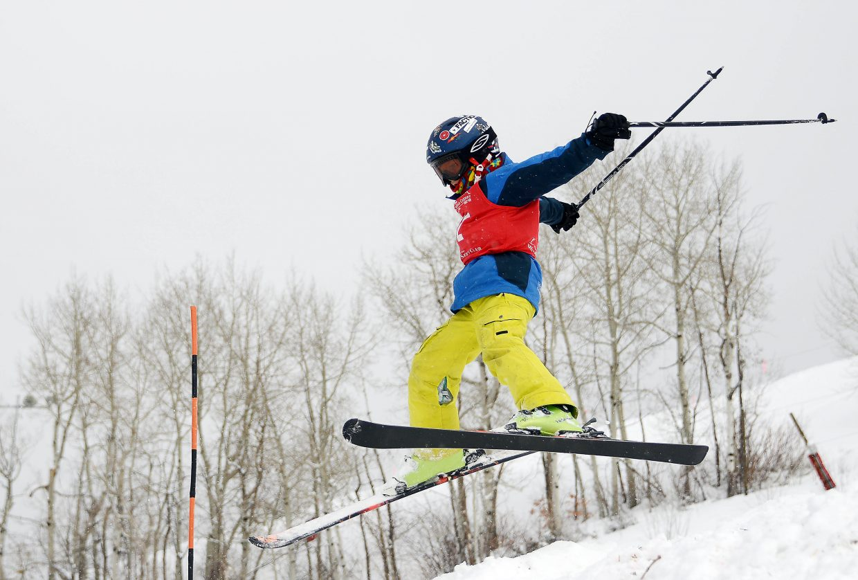 Summit skier Alden Hilden skis Saturday in a moguls event at Steamboat Ski Area.