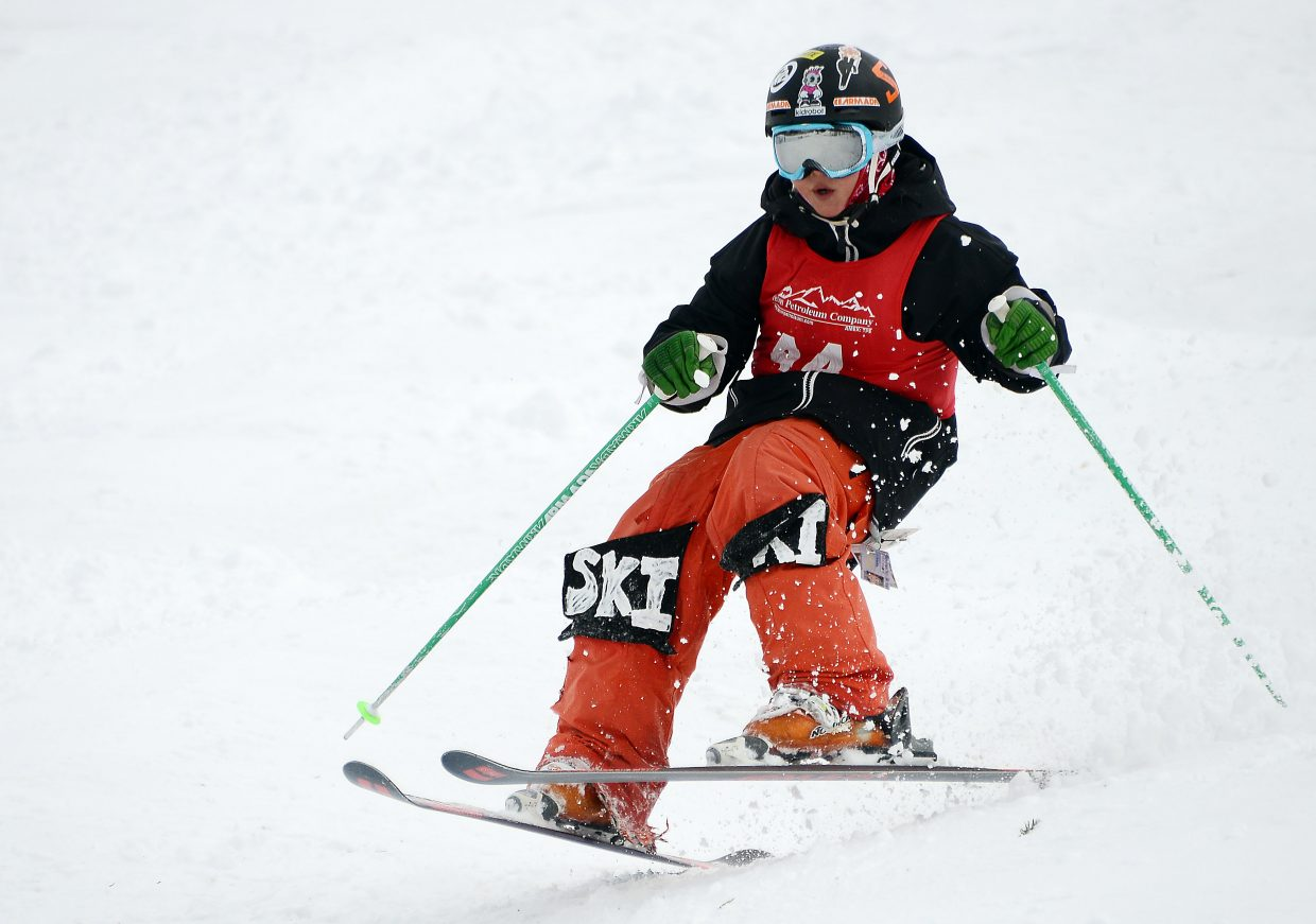 Steamboat skier River King skis Saturday in a moguls event at Steamboat Ski Area.