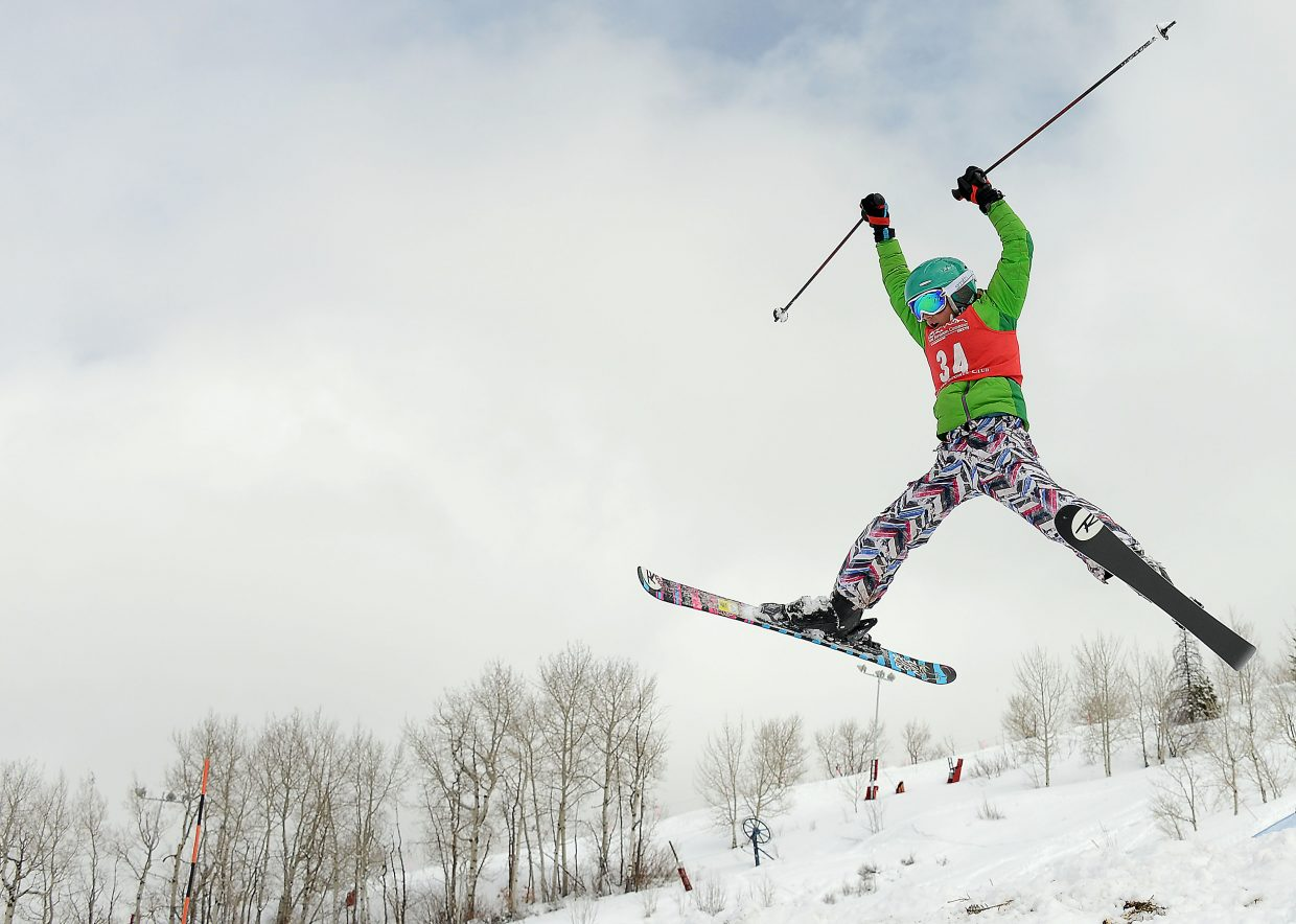 Steamboat skier Riley Hodges skis Saturday in a moguls event at Steamboat Ski Area.