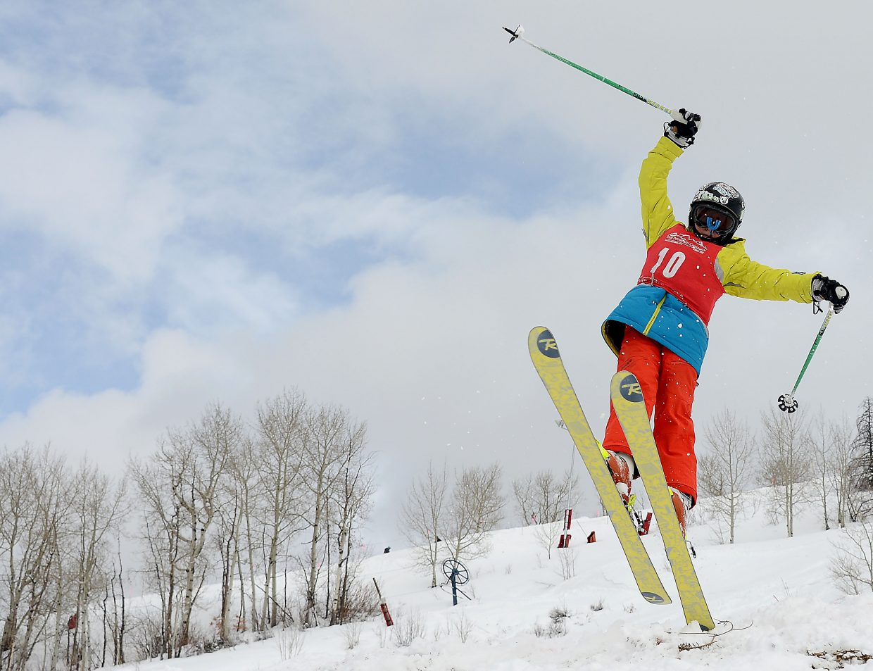 Sam Chasin of Winter Park skis Saturday in a moguls event at Steamboat Ski Area.