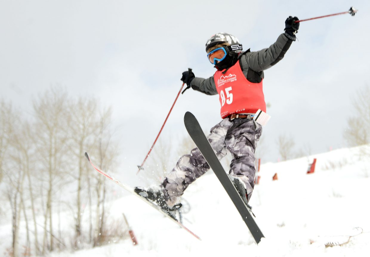 Freddy Rawles of Purgatory skis Saturday in a moguls event at Steamboat Ski Area.