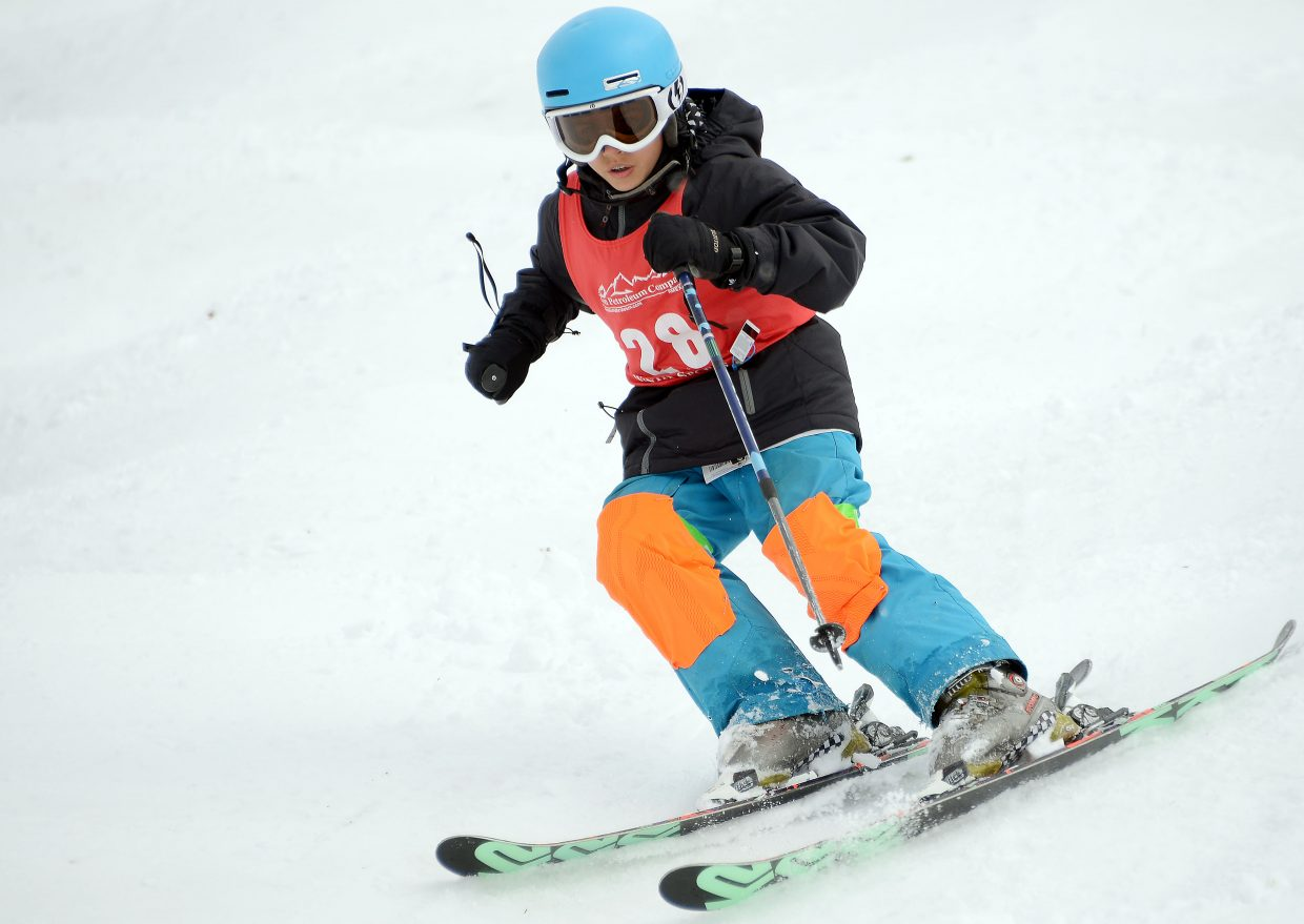 Winter Park's Bryce Greive skis Saturday in a moguls event at Steamboat Ski Area.