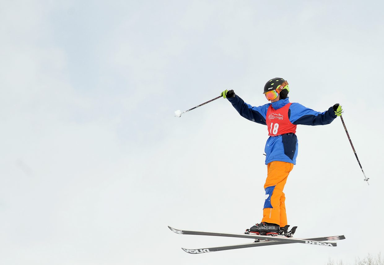 Summit skier Max Duxbury skis Saturday in a moguls event at Steamboat Ski Area.