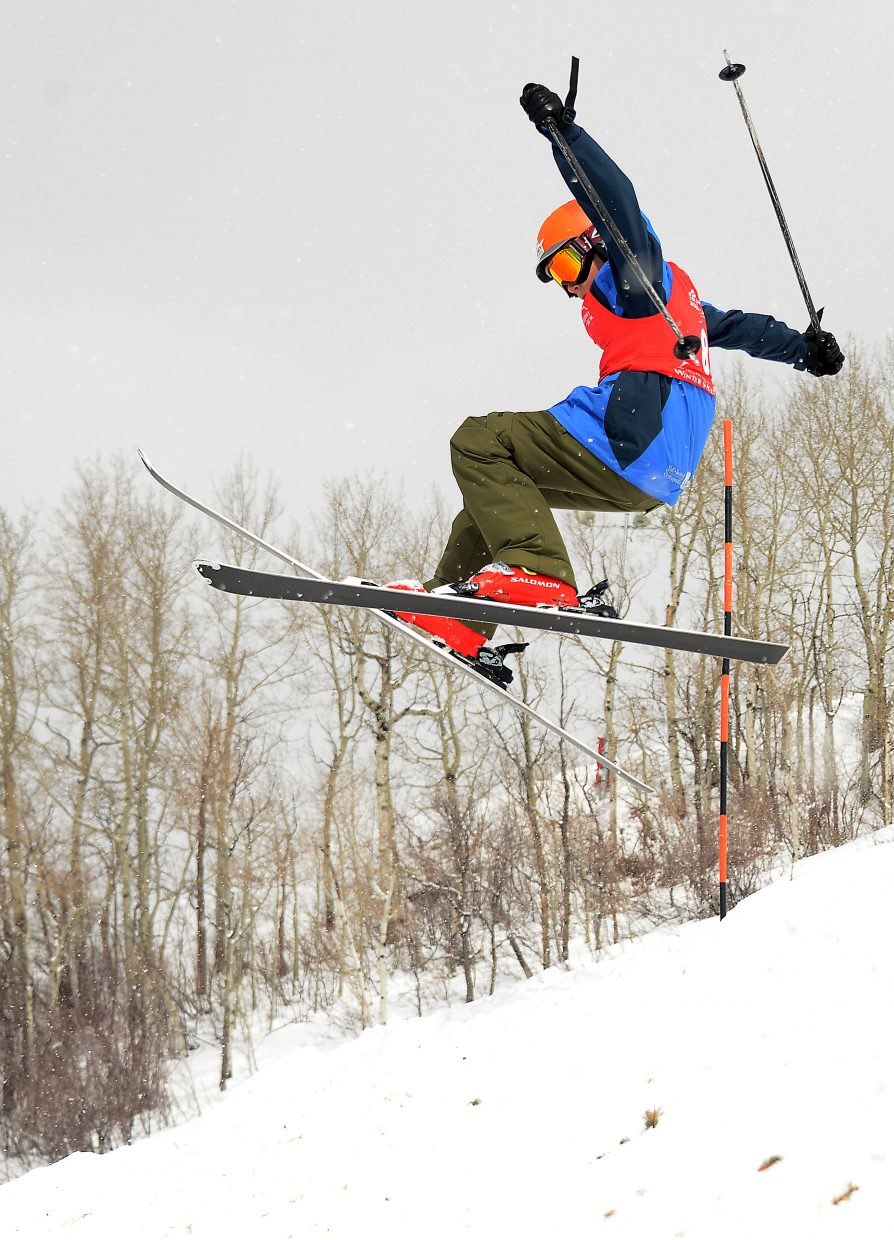 Summit's Cole Campbell flies high Saturday in a moguls event at Steamboat Ski Area.
